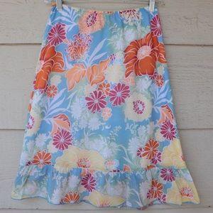 Vintage Roxy Hawaiian Floral Midi Skirt